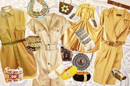 Аксессуары к желтому платью сафари