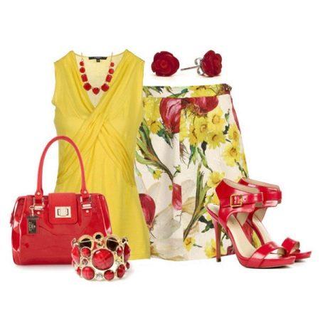 Красные аксессуары к желтому платью