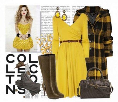 Коричневые аксессуары к желтому платью
