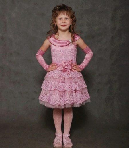 Выпускное вязаное платье крючком для девочки