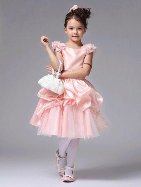Выпускное платье в детский сад розовое короткое