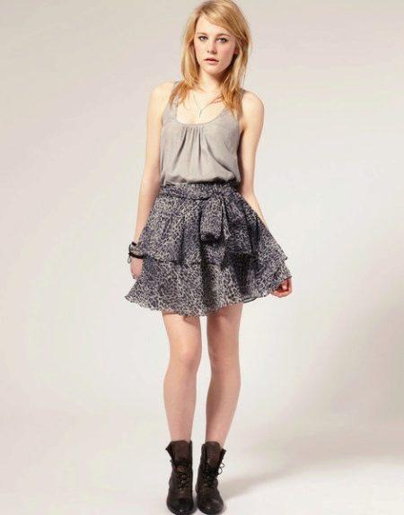 Шифоновая юбка с воланами