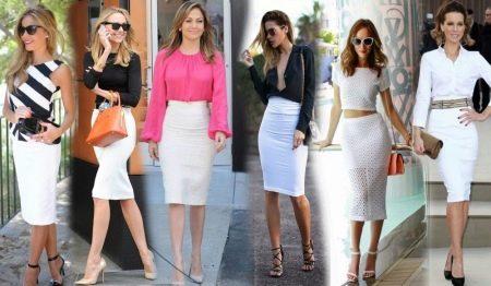 с чем носить белую юбку-карандаш