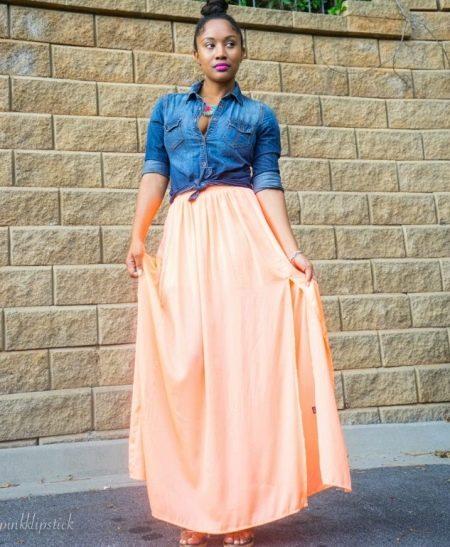 Длинная персиковая юбка полусолнце