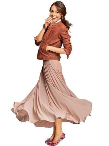 длинная летняя юбка-плиссе