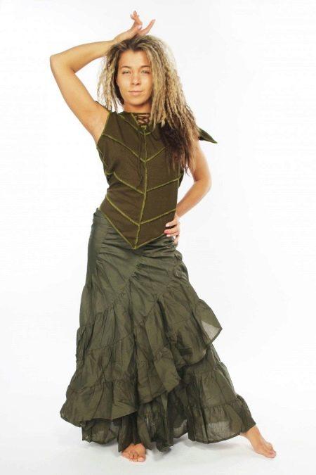 длинная летняя многослойная юбка