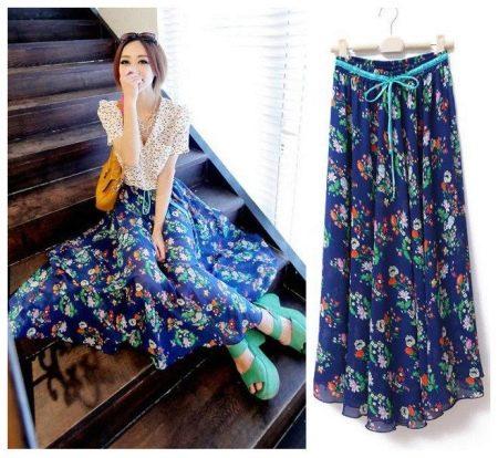 длинная летняя юбка-солнце в цветах