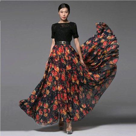 длинная летняя юбка с цветочным принтом