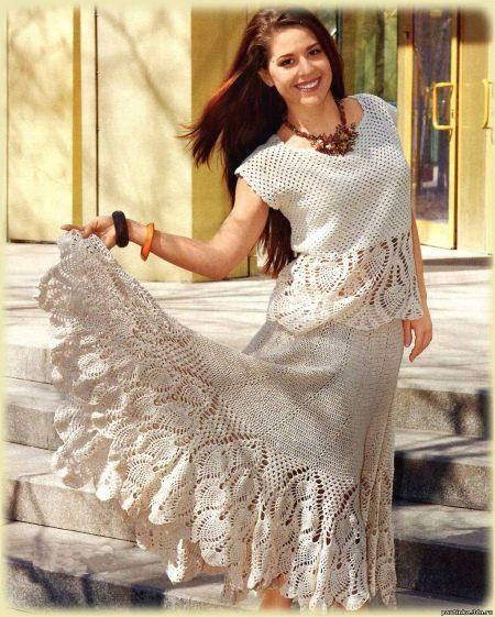 вязаная длинная юбка для полных женщин