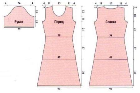 Основа-выкройка платья и рукава