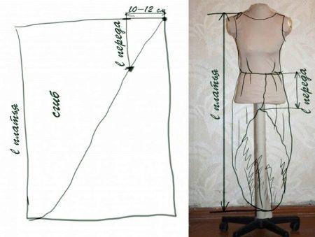 Выкройка юбки летнего платья из шифона