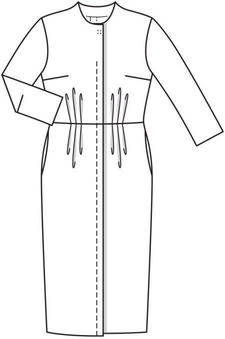 Технический рисунок винтажного платья