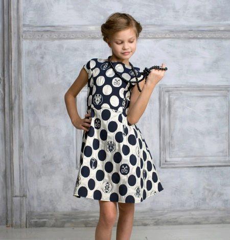 Коктейльное платье для девочки в горошек