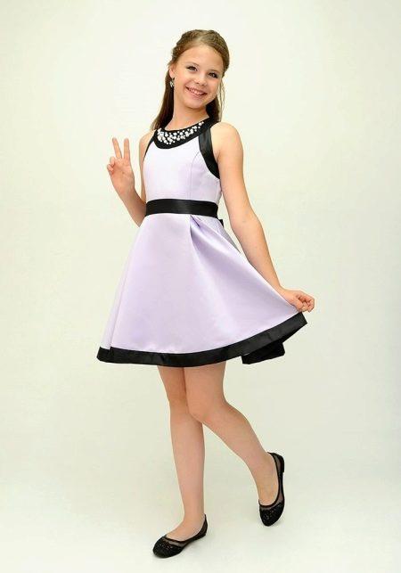 Черное-белое коктейльное платье для девочки