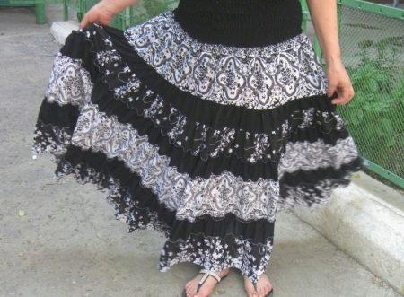 Многослойная юбка с кокеткой для полных