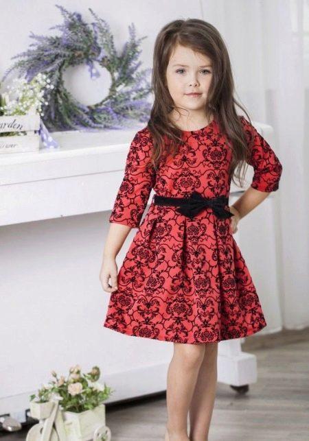 Новогоднее красное короткое платье для девочки