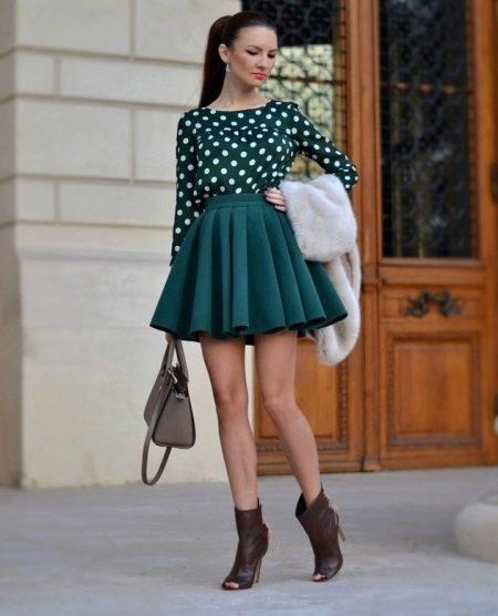 Короткая юбка солнце зеленого цвета на лето