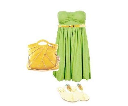 Салатовое платье в сочетание с оранжевым