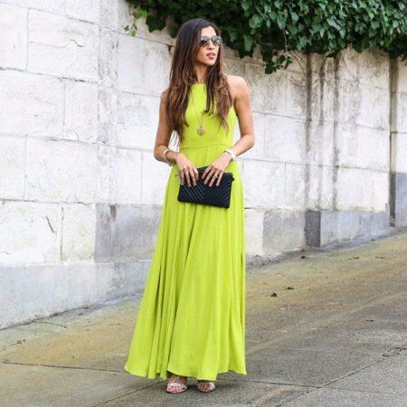 С чем носить салатовое платье