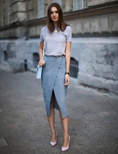 Серая юбка карандаш для девушек с любым типом фигуры