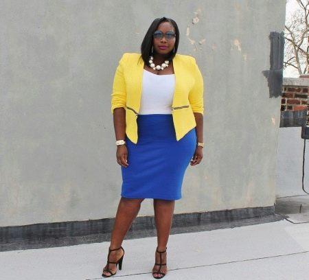 Синяя юбка карандаш НЕ подходит для женщин с фигурой типа яблоко