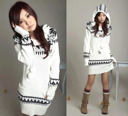 Зимнее платье-свитер для девочек