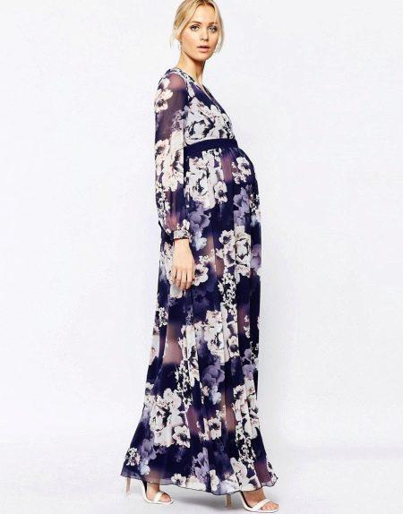Вечернее платье для беременных с рукавом