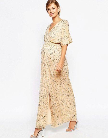 Вечернее блестящее платье для беременных