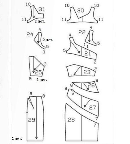 Выкройка платья-футляр асимметричного