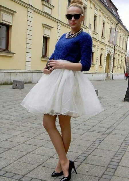 Белая юбка пачка из органзы