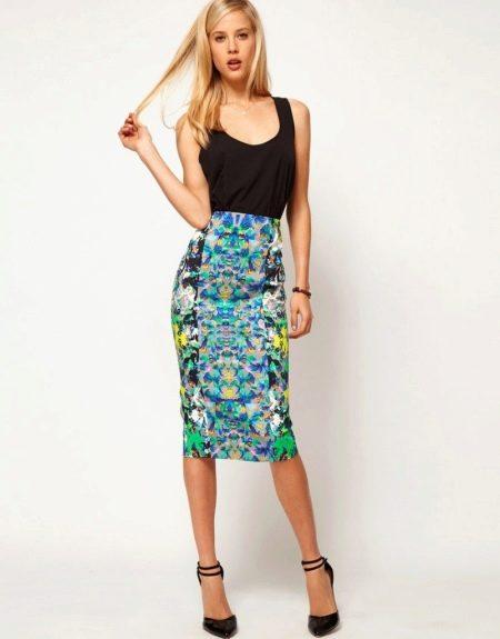 Разноцветная юбка карандаш с завышенной талией