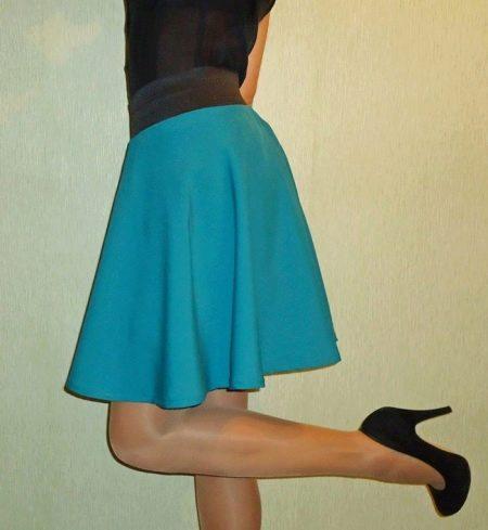 Бирюзовая юбка полусолнце на резинке