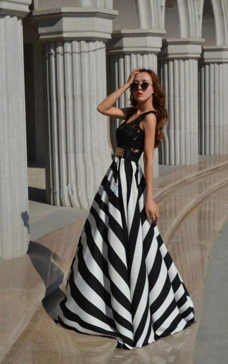 длинная юбка-солнце в крупную полоску