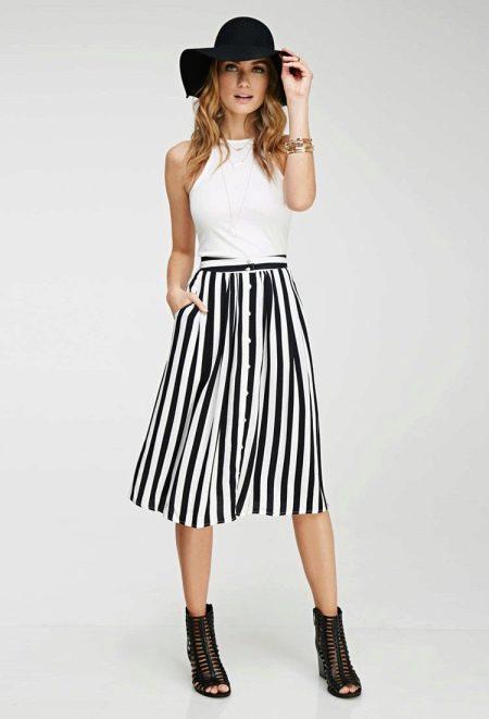 Полосатая юбка с белым верхом