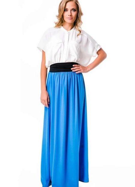 Длинная юбка на резинке с контрастным поясом