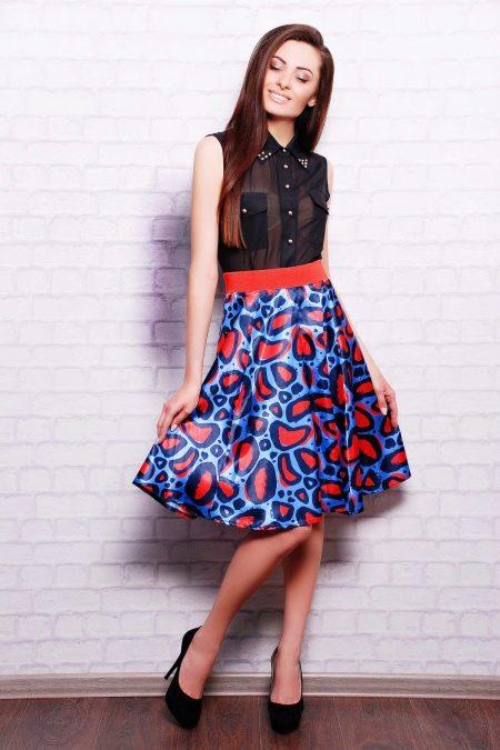 юбка-клеш с контрастной резинкой