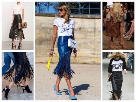 Кожаные юбки с бахромой