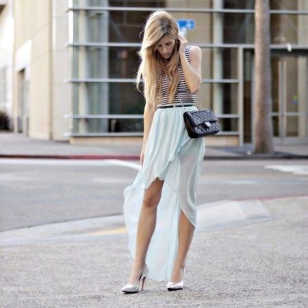 Шифоновая юбка со шлейфом и запахом