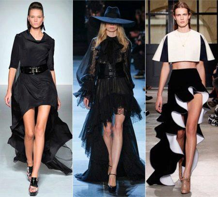 Ассиметричные юбки со шлейфом выше колена