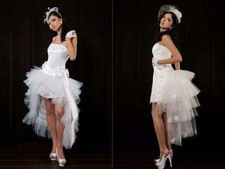 Юбки со шлейфами из фатина на свадебных платьях