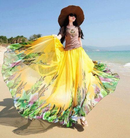 Желтая юбка солнце в пол