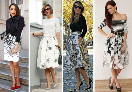 Черные юбки с белым принтом