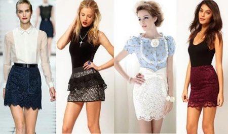 Короткие юбки из гипюра