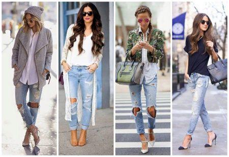 Рваные джинсы-бойфренды (40 фото): с чем носить дырявые джинсы-бойфренды с дырками