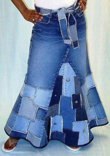 Комбинированная юбка из джинса и ткани