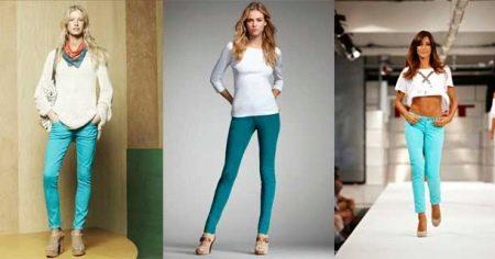 Бирюзовые брюки (74 фото): с чем носить