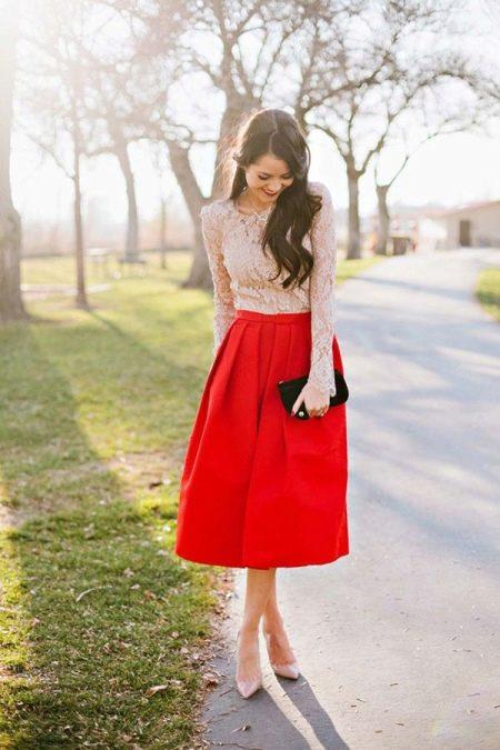 Юбка кружевная и блуза