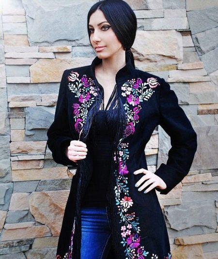 6065445061a Пальто с вышивкой (60 фото)  модное 2019