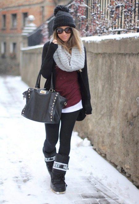 С чем носить женские дутики (54 фото): с пальто или курткой, зимние белые и черные модели с шубой и платьем, с пуховиком и юбкой