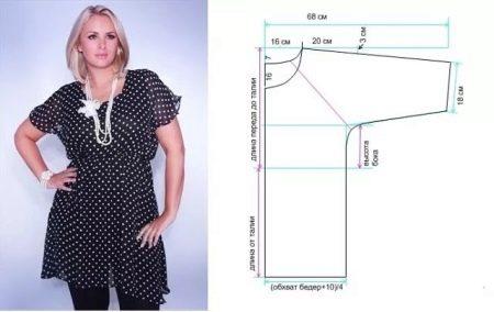 Выкройка блузки для полных женщин
